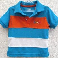 Camisa gola polo listrada branco , azul e laranja