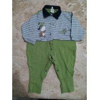 Macacão bloomys baby verde e listrado