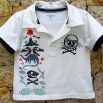 1361 - Camisa gola polo - branca - 2 anos