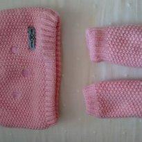 Conjunto de touca rosa com luvinha da HERING