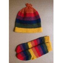 Conjunto de touca e meias de lã bolivianas