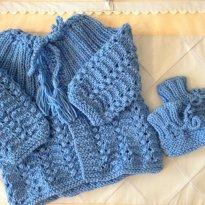 Conjunto Casaco e sapatinho Azul