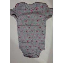 Body cinza com flor rosa  - Tamanho 18 meses