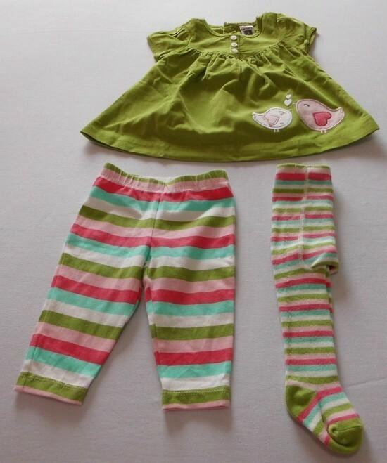 30c4e35a5 Vestido Infantil + Meia Calça + Legging - Carter´s - (3 PEÇAS) - NUNCA USAD0