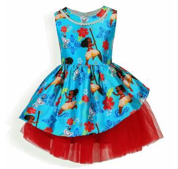 Vestido Moana Festa - Tamanho 6/ 8 Anos - Novo