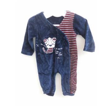Macacão Plush Azul Marinho  - Tam M ( 6 a 9 meses) - MIni Bambini