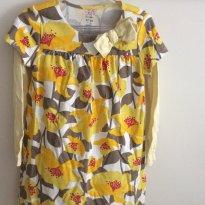 Vestido Florido Manga Longa Amarelo