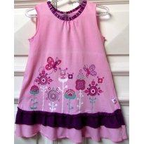 L09 - Vestido rosa e roxo Brandili - M/3 anos - 3 anos - Brandili