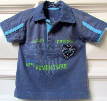 L01 - Camisa gola polo azulão Mamãe Lua - P - H/9-12 meses - 9 a 12 meses - Mamãe Lua