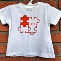 L73 - Camiseta branca Zara Baby - H/6-9 meses - 6 a 9 meses - Zara Baby
