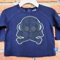 L93 - Camiseta marinho manga longa Miniville - H/6 meses - Caveirinha - 6 meses - Importada