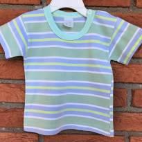 L95 - Camiseta listrada verdinha Bommalhas Baby  - H/3 meses - 3 meses - Nacional
