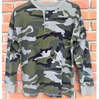 L191 - Camisa em malha Thermal camuflada Faded Glory - H/10-12 anos - 12 anos - Faded Glory (EUA)