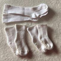 L265 - Kit de 3 meias brancas unissex de 0 a 3 meses - 0 a 3 meses - Baby Gap