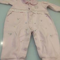 Macacão rosa com babado - 6 a 9 meses - Alô bebê