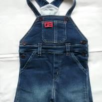 Jardineira jeans tam.1 - 9 a 12 meses - Um mais um