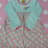 Vestido Carinhoso Verde Água e Saia Xadrez- Veste 5 a 6 anos - 5 anos - Carinhoso