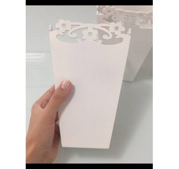 conjunto de vasos em madeira pintada de branco estilo provençal floral - Sem faixa etaria - Artesanal