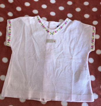Blusinha rosa com bordados florais - 6 meses - Chicco