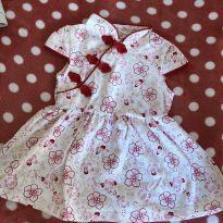 Lindo vestidinho de malha com gola chinesa - 6 a 9 meses - Importada
