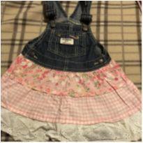 Salopete fofissima jeans com saia rosa - 2 anos - OshKosh