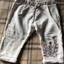 Linda calça saruel bege com bordado floral - 6 a 9 meses - Zara Baby