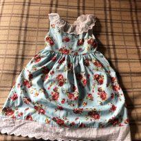 Vestido azul claro com estampa floral - 2 anos - Importado