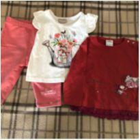 Lote de 3 peças (01 calça + 02 camisetas) - 3 a 6 meses - Milon e Oliver