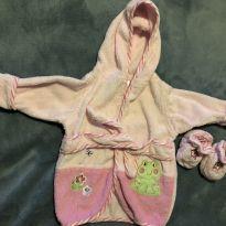 Roupão atoalhado rosa com sapatinho - Recém Nascido - Camesa Baby