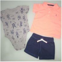 Conjunto short, blusa polo e body pirata - 6 meses - Carter`s