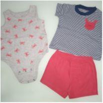 Conjunto short, blusa e body caranguejo - 6 meses - Carter`s