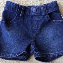 Short jeans bebe menina com elastano - Tam 09 a 12m - 9 a 12 meses - Hering Baby