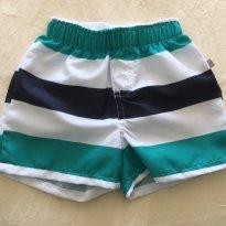 Short praia  menino listrado branco/ verde/preto Tam 6a 9m - 6 a 9 meses - Hering Kids
