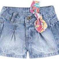 Shorts Jeans Bebê Menina Com Strass - Tam 06 a 09m - 6 a 9 meses - Puc Baby
