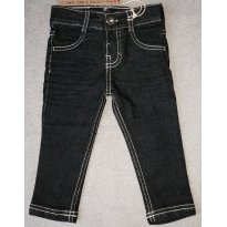 Calça Jeans Bebê Menino Com Lavação Escura e Costura Contrastante - Tam 09 a 12 - 9 a 12 meses - Puc Baby