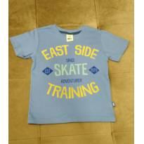 Camisa de malha azul  100% de algodão, tamanho 3 anos