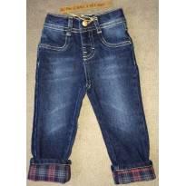 Calça Jeans Bebê Menino Com Detalhes Em Xadrez Na Barra - Tam 06 a 09 m