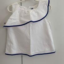 Blusa branca babado detalhe marinho - 3 anos - Janie and Jack