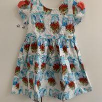 Vestido casinha e flores - 3 anos - Alphabeto