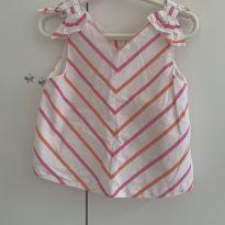 Blusa listras diagonais rosa e laranja - 3 anos - Janie and Jack