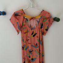 Vestido laranja pássaros - 3 anos - Fábula para C&A