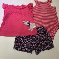 Conjunto Cachorro Passarinho Carter's Blusa, Body alcinha e short - 1 ano - Carter`s