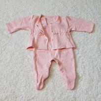 Conjunto saída de maternidade macacão e casaquinho em tricô salmão bebê - Recém Nascido - GiraBaby