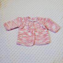 Malha de lã mescla rosa bebê 0-6 meses (pouco usada) - 3 a 6 meses - Não informada
