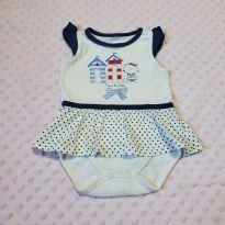 Body com saia bebê off white e marinho - Meia de Leite 3-6 meses (usado) - 3 a 6 meses - Meia de Leite