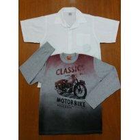 Kit Camisa Surf + Camiseta Moto Menino - 12 anos - Kyly