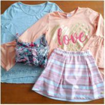 Kit 2 Camisetas + Macacão + Short Saia, Tam. 10 anos - 10 anos - Gap Kids e Malwee
