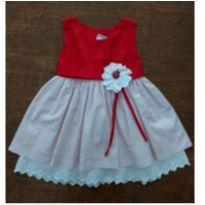Vestido Vermelho e Branco Artesanal Joaninha - 18 a 24 meses - Artesanal