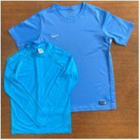Kit 2 Camisetas Esportivas (Nike + Líquido) Azuis Verão, 12 - 12 anos - Nike e lIQUIDO