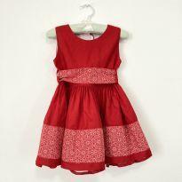 Vestido Artesanal Vermelho Bebê 18-24 Meses - 18 a 24 meses - Artesanal